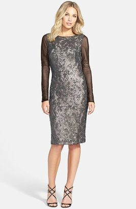 Vera Wang Long Sleeve Sequin & Mesh Sheath Dress