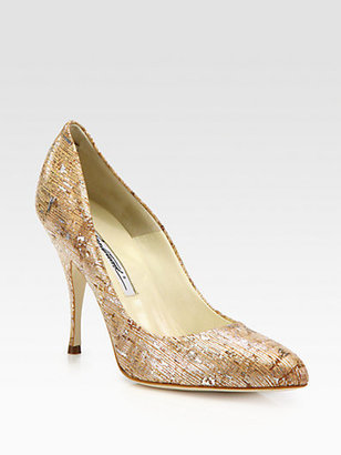 Brian Atwood Starlet Cork & Metallic Leather Pumps