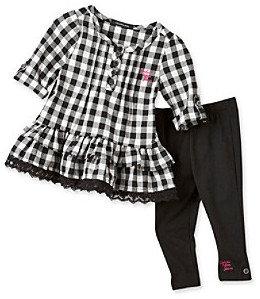 Calvin Klein Baby Girls' Black Check Top Set