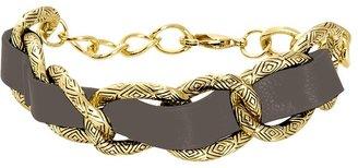House Of Harlow Leather Engraved Link Bracelet