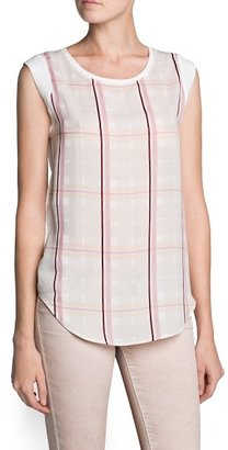 MANGO Check chiffon panel t-shirt