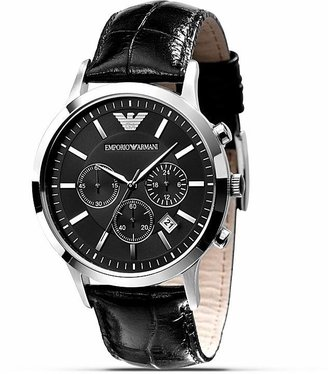 Emporio Armani Quartz Chronograph Black Leather Watch, 46 mm