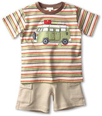Le Top Happy Camper Stripe Shirt w/ French Terry Cargo Shorts (Infant/Toddler) (Khaki) - Apparel
