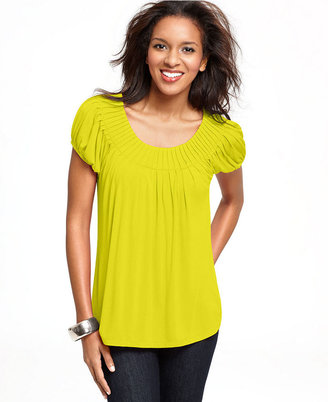 Style&Co. Top, Cap Sleeve Solid Pleated Collar
