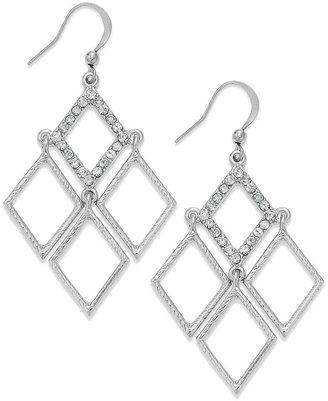 Style&Co. Earrings, Silver-Tone Pave Diamond-Shaped Kite Drop Earrings