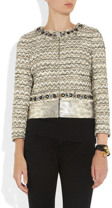 Tory Burch Vanessa leather-paneled tweed jacket