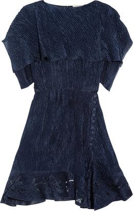 Nina Ricci Lace-trimmed crinkled silk dress