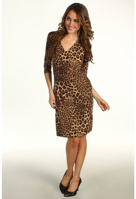 Anne Klein Petite - Petite Leopard Print V-Neck Dress (Bark Multi) - Apparel