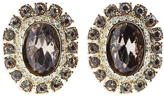 Brooks Brothers Goldwash Crystal Pave Clip Earrings