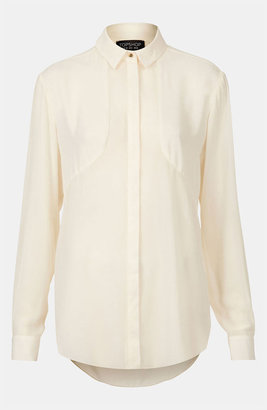 Topshop Contrast Panel Shirt Cream 4