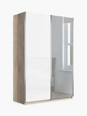 John Lewis & Partners Elstra 150cm Wardrobe with Glass and Mirrored Sliding Doors