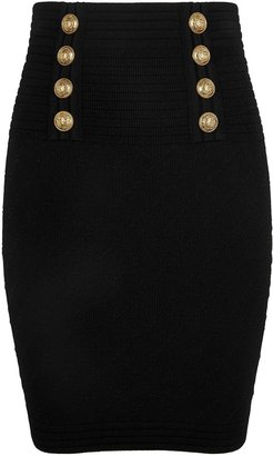 Balmain Black Stretch-knit Mini Skirt