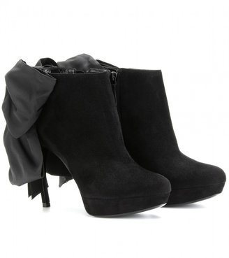 Alexander McQueen SUEDE ANKLE BOOTS WITH GROSGRAIN BOW AT THE BACK