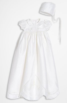 Little Things Mean a Lot Dupioni Silk Christening Gown