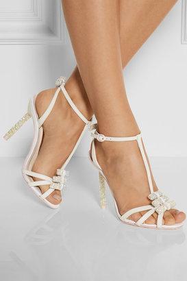 Webster Sophia Fleur embellished leather and glitter-finished twill sandals