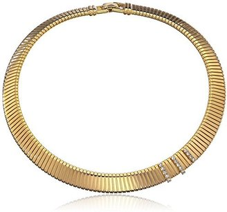 """Yochi Crystal-Accented Collar Snake Chain Necklace, 17"""""""