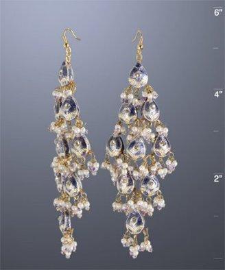 Chamak by Priya Kakkar purple enamel teardrop chandelier earrings