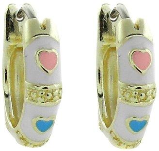 Distributed By Target ELLEN 18k Gold Overlay Enamel Heart Design Hoop Earrings - White