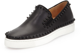 Christian Louboutin Studded Calfskin Slip-on Sneaker, Black