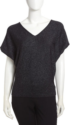 Lafayette 148 New York Cashmere-Silk Blend Flutter-Sleeve Glitter Top, Black