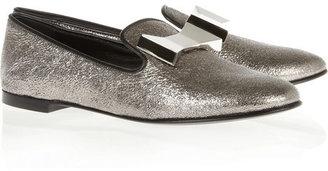 Giuseppe Zanotti Dalila embellished metallic leather slippers