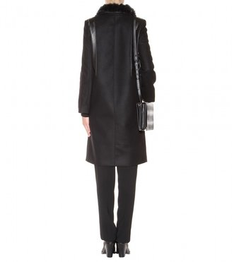 Helmut Lang Rabbit and leather-trimmed wool-blend coat