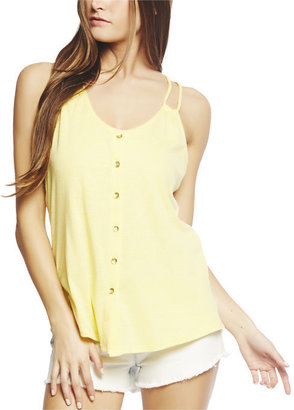 Arden B Button Front Sheer Back Tank