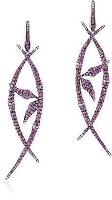 Swarovski Atelier Bamboo Shoots Long Drop Earrings Pink Created Sapphires