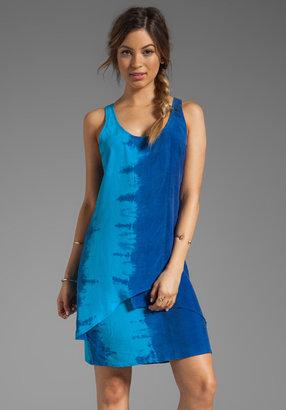 C&C California Bemberg Placement Tie Dye Stripe Layered Tank Dress