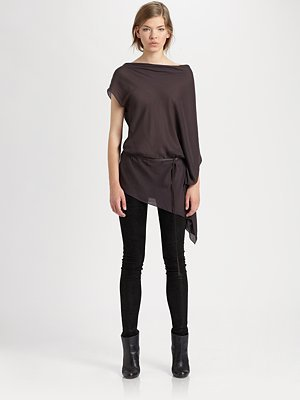 Helmut Lang Lush Voile Belted Top