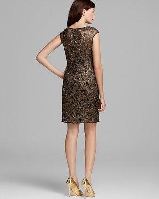 Kay Unger Cap Sleeve Metallic Lace Dress