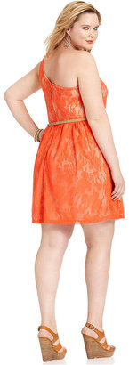 Ruby Rox Plus Size Dress, One-Shoulder Lace A-Line