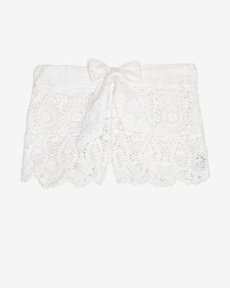 Letarte Crochet Beach Shorts: White