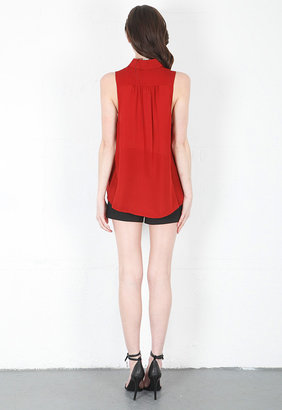 Haute Hippie Sleeveless Blouse with Pleating in Rosewood
