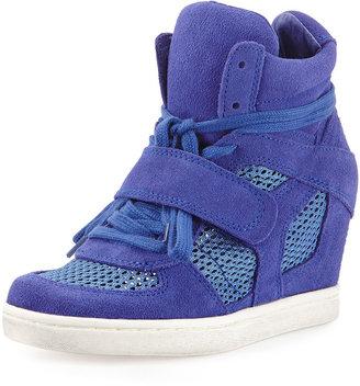 Ash Bowie Mesh Suede Wedge Sneaker, Sapphire