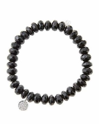 Sydney Evan 8mm Faceted Black Spinel Beaded Bracelet with Mini White Gold Pave Diamond Disc Charm (Made to Order)
