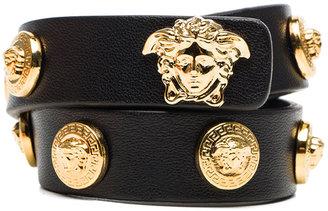Versace Leather Bracelet in Black & Gold