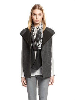DKNY Vest With Leather Lapels And Zipper Pockets