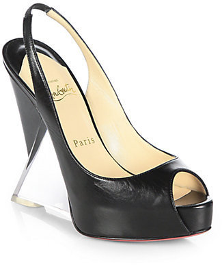 Christian Louboutin Leather Plexi Wedge Slingback Pumps