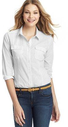 LOFT Petite Dot Print Cotton Button Down Shirt