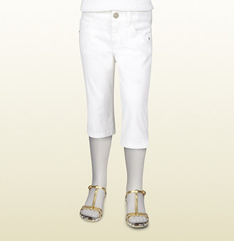 Gucci White Stretch Denim Capri Pant