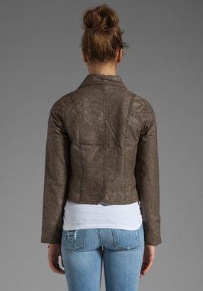 BB Dakota Sandler 2 Tone Crinkle Faux Leather Jacket