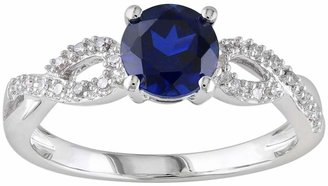 Vera Wang Lab-Created Sapphire & 1/10 Carat T.W. Diamond Engagement Ring in 10k White Gold