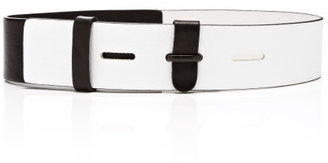 Prabal Gurung Preorder White And Black Combo Leather Belt