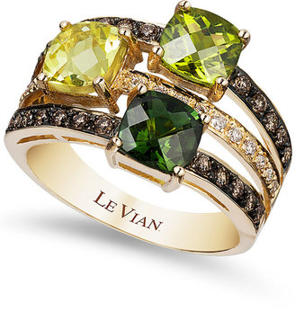 Le Vian Green Tourmaline (7/8 ct. t.w.), Peridot (7/8 ct. t.w.), Lemon Quartz (7/8 ct. t.w.) and Chocolate (1/3 ct. t.w.) and White Diamond (1/10 ct. t.w.) Ring in 14k Gold $2,600 thestylecure.com