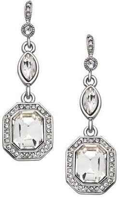 Carolee Silver and Emerald Cut Crystal Royal Redeux Drop Earrings