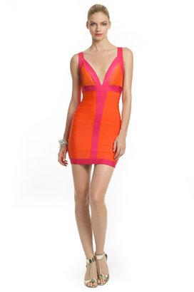 Herve Leger Citrus Flamingo Dress