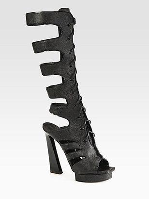Proenza Schouler Stamped Leather Gladiator Lace-Up Boots