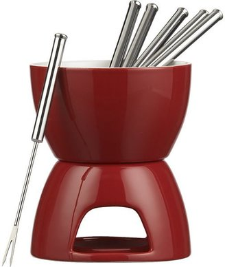 Crate & Barrel 7-Piece Red and White Fondue Set