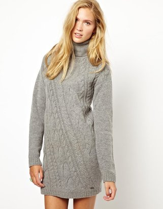 Pepe Jeans Knitted Roll Neck Dress - Grey